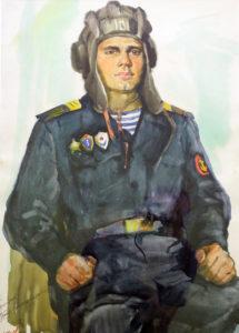 Грицко-Петр-Александрович-водит-танка-бумага-акварель-60х43-1975