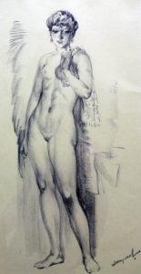 Ню-с-полотенцем-на-плече-бумага-литограф-карандаш-58х31-1988